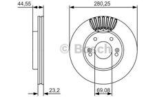 1x BOSCH Disco de freno delantero 280mm 0 986 479 A12