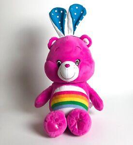 "Pink Cheer Carebear Plush Stuffed Animal W/ Bunny Ears & Rainbow Tummy 18"""