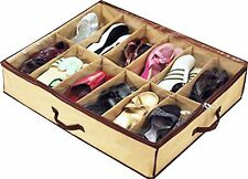 12 Grid Under Bed Clean Shoe Storage Fabric Organizer Closet Tidy Box 67x57x14cm