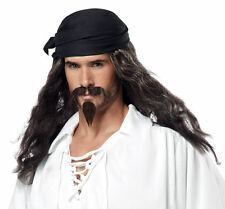 Adult Long Grey Black Pirate Costume Wig, Moustache & Chin Patch