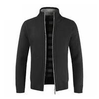 Men Sweater Winter Warm Thicken Zipper Pullover Sweater Stand Neck Knitwear Coat