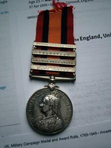 Victorian Boer war QSA 4bar medal Pte Opie Railway Pioneer Regt from Cornwall