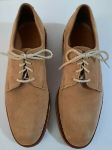 "Allen Edmonds ""Yale"" Tan Suede Bucks Vibram Sole Derby Shoes USA Size 8 B"