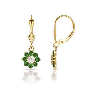 Emerald & White Sapphire Flower Cluster Dangle Earrings 14K Yellow / white Gold
