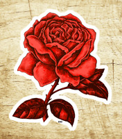 """Red Rose Decal Sticker Roses Tattoo Vintage 3 5/8"""" x 2 5/8"""" Vinyl"""