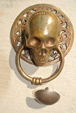 """large round SKULL head ring pull Handle BRASS 4"""" day of the dead door KNOCKER B"""