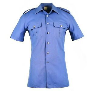Original Italian military police shirt short sleeves blue Italy carabinieri