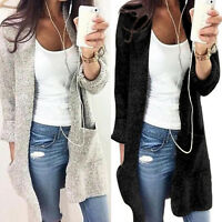 Womens Knitted Long Sleeve Jumper Open Cardigan Sweater Coat Pocket Plus Size