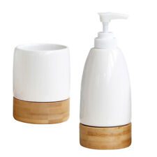 Ceramic Bathroom Accessories Set Hand Sanitizer Bottle &Toothbrush Cup