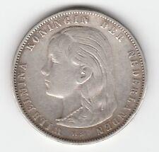 Netherlands 1 Gulden 1896 Wilhelmina silver .945 aXF low mintage KM 117