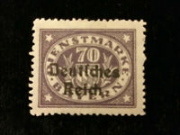 Deutsches Reich Dienstmarken 1920 - 70 (Pf)  MiNr. 42 mit Plattenfehler I