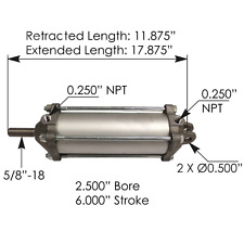 "Dump Truck Locking Tailgate Air Cylinder 2-1/2"" Diameter x 6"" Stroke 100123"