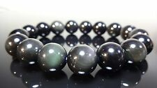 """Genuine Black Obsidian Bead Bracelet for Men Women Stretch 12mm - 7.5"""" inch AAA"""