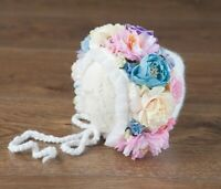Handmade Flower Bonnet Hat for Newborn Baby Girl Photo Prop Photography
