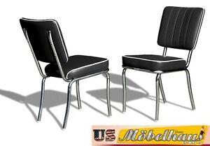 CO-25 Black Bel Air Furniture 2 Chairs Diner Kitchen IN Style Der 50er Years