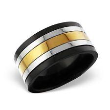Para Hombre Acero Inoxidable Quirúrgico Plata Negro/Oro Diseño en movimiento Anillo Tamaño T/10