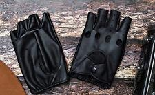 Lady PU Leather Mittens Fingerless Fad Punk Motorcycle Gloves Black BDAU
