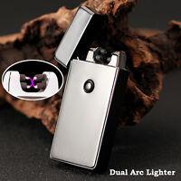 Electric Dual X Arc Flameless Windproof USB Rechargeable Plasma Lighter Titanium