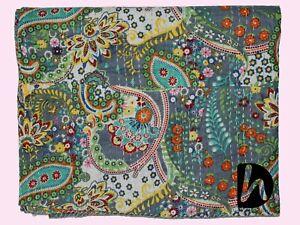 Indian Handmade Bedcover Decorative Kantha Blanket Indoor Quilt King/Twin Gudri