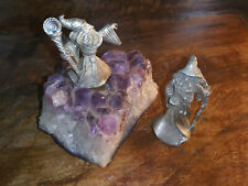 Magical: Two Pewter Wizards one On Amethyst Crystal Purple Stone