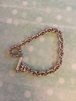 """Brighton Toggle Delicate Oval Chain Silver Bracelet Decorated Dot Connector 8"""""""