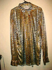 VERY RARE VINTAGE MEN METALLIC PARTY SHIRT COLORS PSYCHEDELIC ANIMAL PRINT LG.