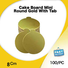 Cake Board Mini Round Gold Tab 100Pk 8Cm Display Cupcake Slices Pastry Cake Box