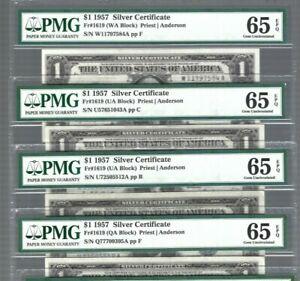US Silver Certificate ✨ 1957 $1 X 1 note Fr#1619 ✨ PMG 65 GEM UNC EPQ #0746