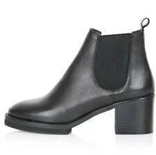 Ladies Black Leather 'Mandolin' Chelsea Ankle Boots From Topshop BNIB Size 7 UK