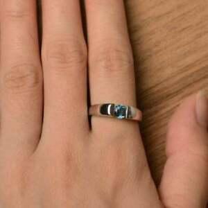 Round Cut 1.5Ct Blue Topaz 14K White Gold Fn Gemstone Solitaire Anniversary Ring