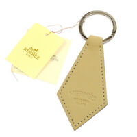HERMES Porte Cles Tab Key Ring Holder Bag Charm Beige Swift Leather S08024c