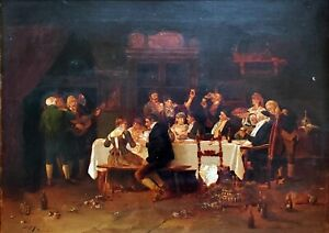 DUPUY 19th Century (1870) Antique Oil Painting on Board, Signed, Party Scene
