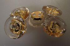 6 BOUTONS transparent & doré * 13 mm 1,3 cm *  2 trous * Button sewing mercerie