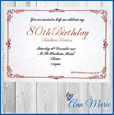 10 x 80th BIRTHDAY PARTY PERSONALISED INVITES BIRTHDAY INVITATIONS + ENVELOPES