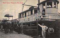 Postcard Elizabeth Boat & Wharf Scene in Bridgeport, New Jersey~108407