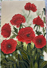 More details for decorative tile with poppies- 30 by 20 cm