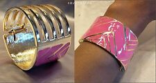 PINK GOLD ACRYLIC CHUNKY CHEVRON HINGE TIERED BANGLE BRACELET NEW