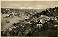 Passau Bayern AK ~1920/30 Totalansicht mit Fluss Schiffe Kupferdruck A. Adolpf