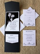 100 Personalized Custom Pocket Elegant Bride and Groom Wedding Invitations Set