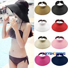 Women Wide Brim Roll Up Foldable Cap Beach Straw Visor Sun Outdoor Sport Hat