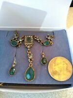 New earrings necklace Blue tourmaline colored gift set AVON signed