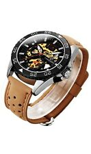 Mens Skeleton Watch - Brown Leather Watch