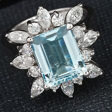 5.00 Carats NATURAL AQUAMARINE and DIAMOND 14K Solid White Gold Ring