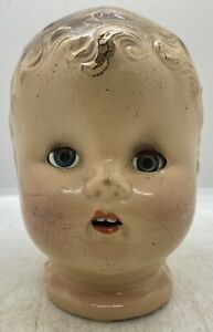 Old Ugly Creepy Vintage Composite Baby Doll Head For Parts Project Halloween