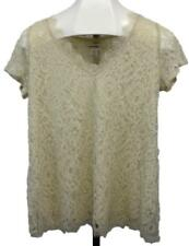 Motherhood Maternity Ladies Womens Lace Short Sleeve Blouse Top Beige M NEW