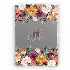 PERSONALISED NAME CLEAR TRANSPARENT & FLOWERS CUSTOM CASE COVER FOR APPLE IPAD