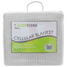 sleepscene 100% Coton Doux Couverture Cellulaire BLANC SIMPLE DOUBLE ROYAL Super
