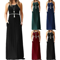 Women's Round Neck  Lace Sleeveless Maxi Dresses Casual Long Dresse With Pocket