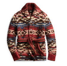 NWT RRL Ralph Lauren Hand Knit Wool Blend Ranch Long Robe Cardigan Mens Medium M