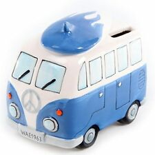 Summer Love ! Ceramic Camper Van Design Piggy Bank Surfboard on Roof Money Box